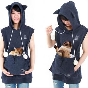 Des sweats poche kangourou qui vous permettent d'emmener votre chat partout avec vous