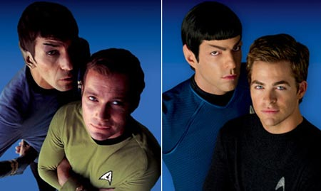 De gauche à droite : Leonard Nimoy / William Shatner - Zachary Quinto / Chris Pine