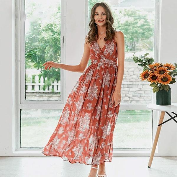 robe-fleurie-rouge-longue