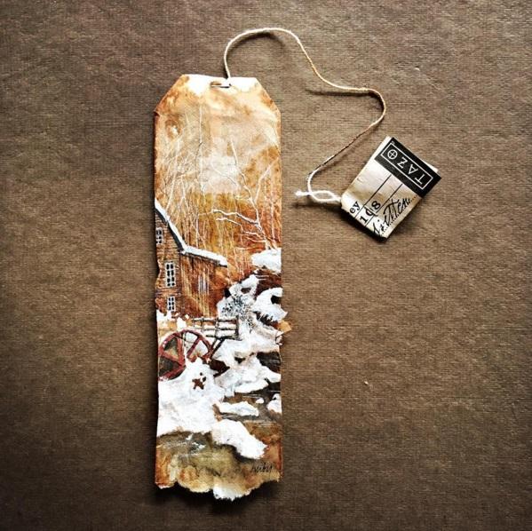 Elle dessine sur des sachets de thé usagés et le résultat est magnifique | #9