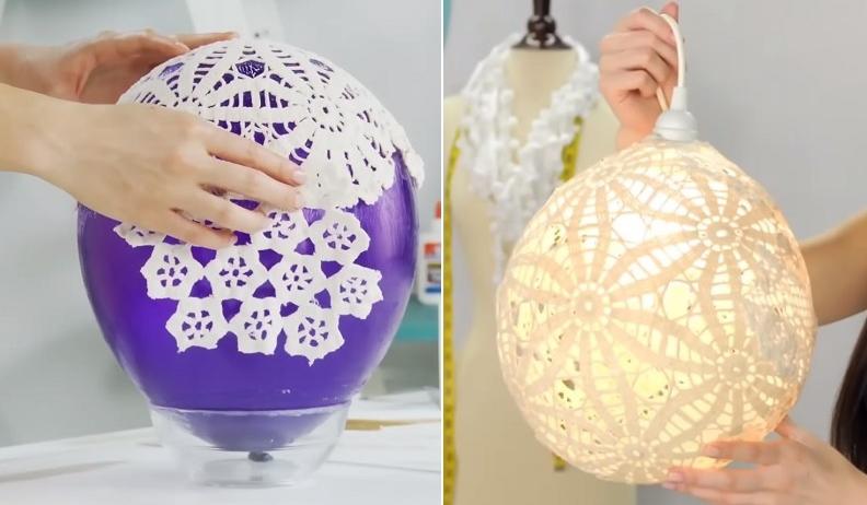 DIY : comment fabriquer soi-même une jolie lampe en collant des napperons à un ballon ! | So ...