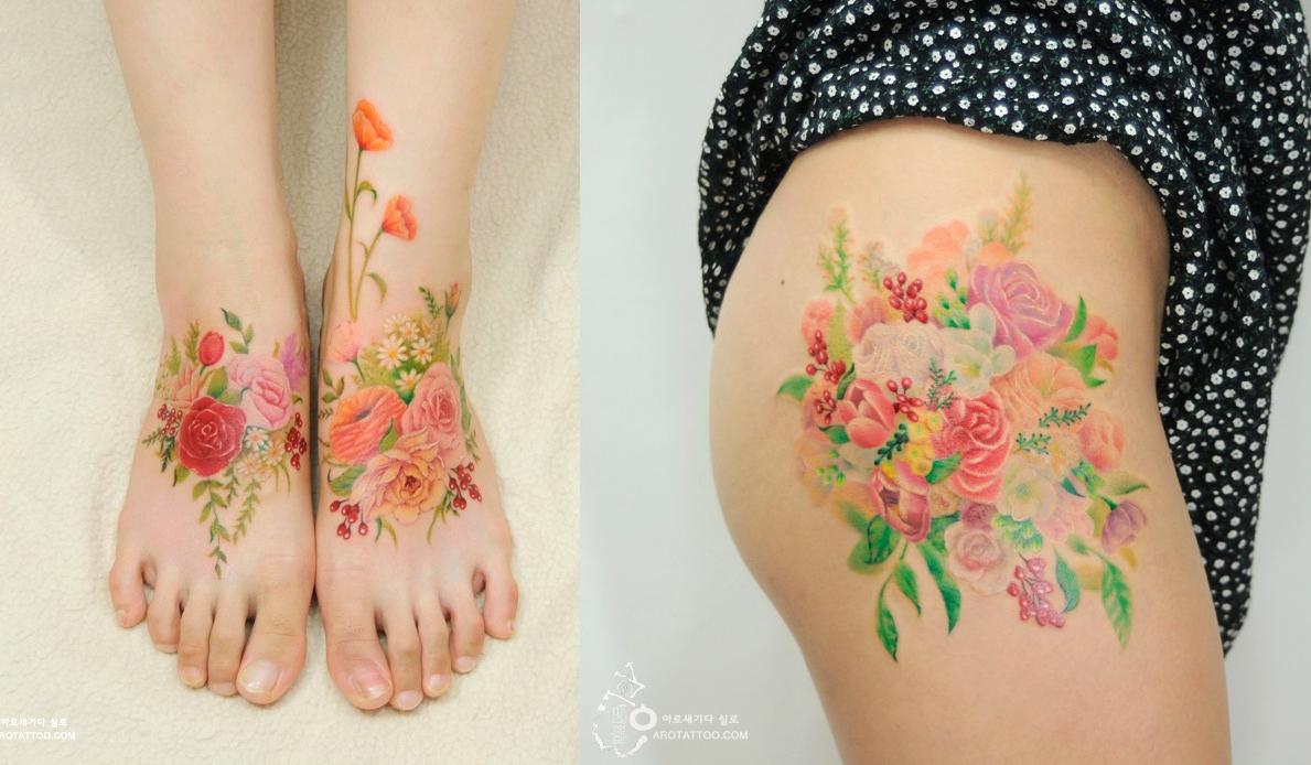 11 Tatouages Fleuris Qui Imitent Des Peintures A L Aquarelle Sur La